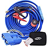 TOPDC Jumper Cables with Quick Connect Plug 1 Gauge 25 Feet -40℉ to 167℉ 800Amp Clamps Heavy Duty Booster Cables with Carry Bag (1AWG x 25Ft)
