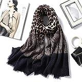 FYWEITM Bufanda Hijabs de Arrugas de Invierno Diadema Animal Print Fold Chales y Abrigos Bufandas de Cuello de algodón Foulard