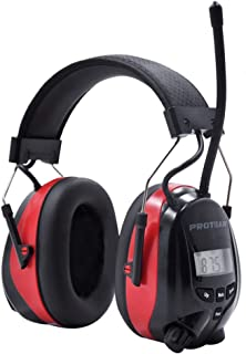 Safety Ear Muffs,Noise Reduction Bluetooth Radio Headphones,Ear Hearing Protection with Rechargeable Lithium Battery,Lawn Mower Work Using(AM/FM,NRR 25DB)
