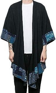 COOFANDY Men`s Ruffle Shawl Collar Cotton Cardigan Long Kimono Jackets Open Front Drape Cape Coat