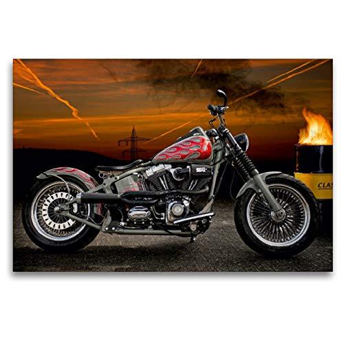 Premium Textil-Leinwand 120 x 80 cm Quer-Format Harley-Davidson Fat Boy Softail Bobber | Wandbild, HD-Bild auf Keilrahmen, Fertigbild auf hochwertigem Vlies, Leinwanddruck von N N