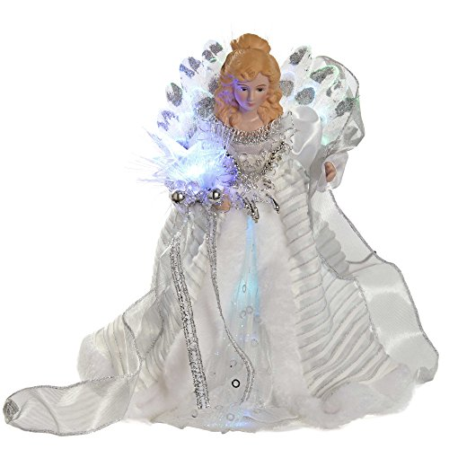 WeRChristmas Fibre Optic Christmas Tree Topper Angel, White/Silver, 30 cm