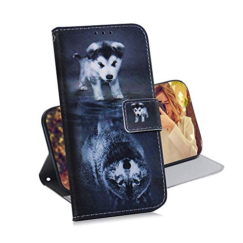 COTDINFOR Huawei Y6 2019 Hülle Kreativ Art Painted cool Schutzhülle PU Leder Flip Bookcase Handy Tasche Schale mit Magnet Standfunktion Etui für Huawei Honor 8A / Y6 2019 Wolf Dog TX-CH.