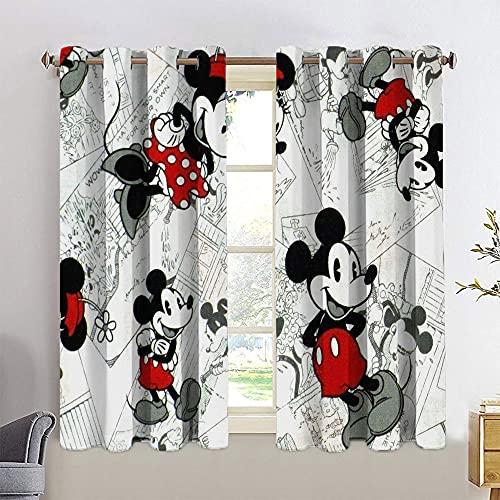 Cortinas opacas con ojales de Mickey Minnie Mouse para habitación de los niños, 55 x 63 cm