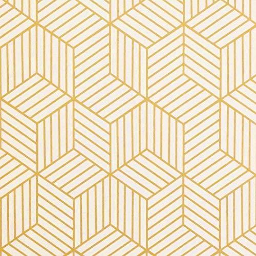 Timeet Papel Pintado Pared Moderno Diseño de Geometría de Color Dorado y Beige, Rayas Doradas, Papel Pintado Autoadhesivo para Muebles,Estantes,Cajón, Vinilo Rollo 45 x 500 cm