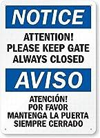 安全標識-注意:ゲートは常に閉じたままにしてください錫金属標識標識通知標識通りの道路警告標識壁の装飾