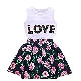 Jastore Girls Letter Love Flower Clothing Sets Top+Short Skirt Kids Clothes (5-6T) White
