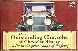 1929 CHEVROLET FACTORY DEALERSHIPS SALES BROCHURE with PRICES - ADVERTISEMENT - Includes Coach, Coupe, Sport Coupe, Sedan, Imperial Sedan, Phaeton, Roadster, Roadster Pickup