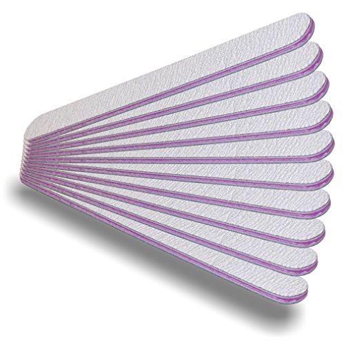 NAILFUN  - Zebra - Lima da unghie professionale, diritta, granulosità 100/180, 10 pezzi