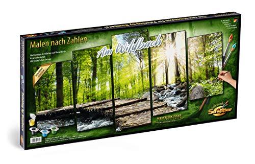 Schipper 609450774 Malen nach Zahlen, Am Wildbach - Bild malen für Erwachsene, inklusive Pinsel und Acrylfarben, 5 Bilder, Meisterklasse Polyptychon - Profi-Edition, 132 x 72 cm