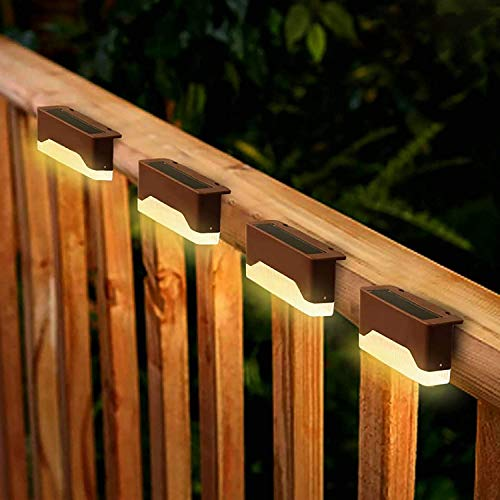 Solar Deck Lights Outdoor, 4 Pack Waterproof LED Solar Fence Lights for Railing, Stairs, Patio, Step, Walkways - Auto On/Off (Warm Light)