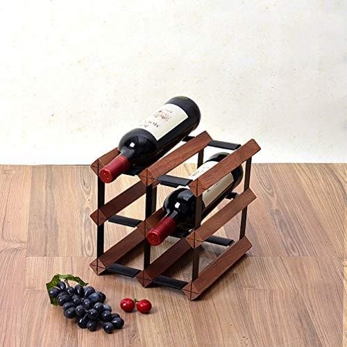 Wijnfles, vrijstaand, wijnrek van hout, standaard, kast van natuurhout van verzinkt staal | robuuste flessenhouder | wijnflessenorganizer voor kast 6 Bottle