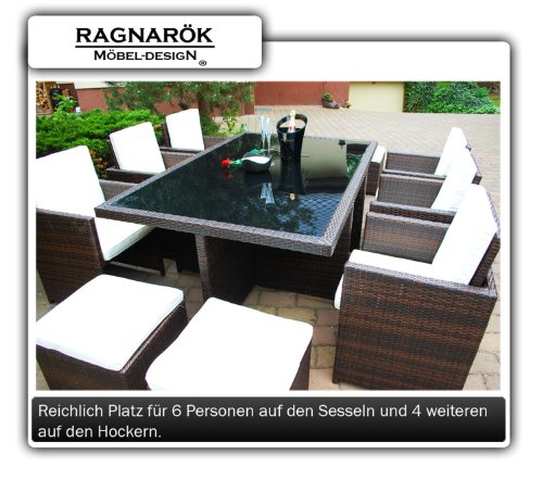 Ragnarök-Möbeldesign DEUTSCHE Marke - EIGNENE Produktion - 8 Jahre GARANTIE Garten Möbel Glas Polster PolyRattan Set Gartenmöbel Tisch Stuhl Hocker BRAUN - 3