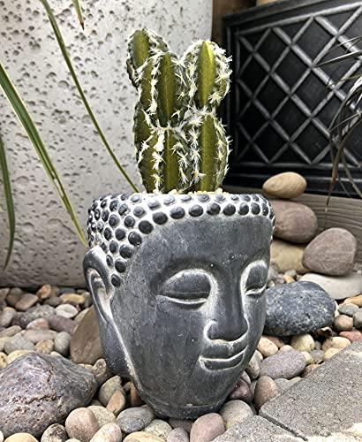 Blumentöpfe aus Beton – Zen-Gartenornament, um Ruhe und Ruhe zu Ihrer Gartendekoration hinzuzufügen – Vielseitiger Buddha-Kopf Pflanzgefäße für...