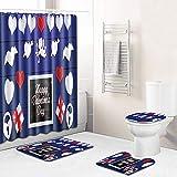 Claean-Acces-Home Juego Alfombras Baño Azul Set De Baño De Corazón Cálido Set De Toalla De Toalla De Toalla De Baño-Qrj207_45 * 75Cm + 180 * 180 Cm