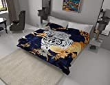White Tiger Blanket I Korean style Mink Ultra Silky Soft Reversible Bed comforter bedspread bedding Cobias I Heavy thick weight I Perfect for Winter and Warm for all season throw (King, 71 Tiger Blue)