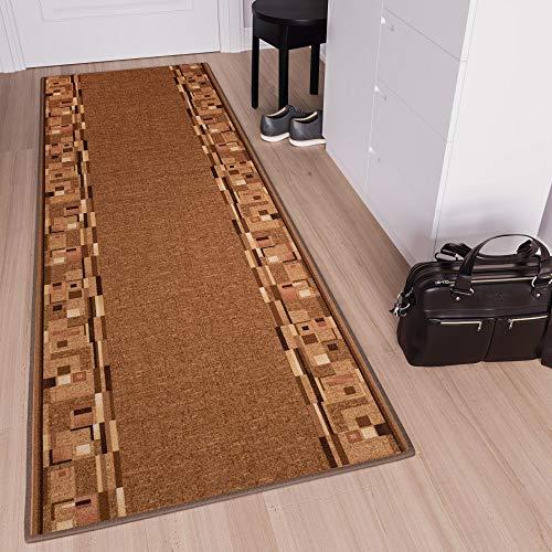 TAPISO Anti Rutsch Teppich Läufer rutschfest Brücke Meterware Modern Hellbraun Braun Vierecke Figuren Design Flur Küche Wohnzimmer 100 x 270 cm