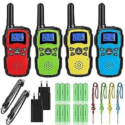 🔋🔌 【Pack de 4 talkies-walkies rechargeables】: Chaque commande est livrée avec 2 chargeurs USB et 4 * 3 * 1000mAh piles AA rechargeables (3000mAh pour un talkie-walkie), la fonction d'économie d'énergie automatique prolonge la durée de vie de la batte...