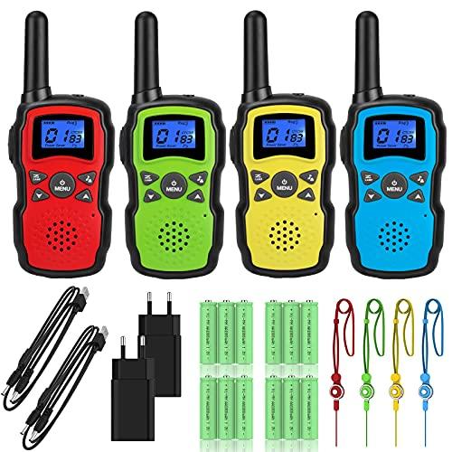 Wishouse Walkie Talkie Niños Recargable Adulto USB 4 Unidades Largo Alcance 8 Canales Vox Walky Talky con 4X3000mAh Bateria LCD Pantalla Linterna Cordones Juguetes Regalos Cumpleaños para Infa