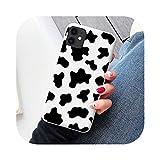 Coque en silicone souple pour iPhone X XR XS Max SE2020 12 11 Pro 6S 7 8 Plus Motif vache blanche et...
