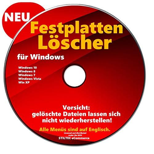 Festplatten Löscher & Formatierer Datenvernichter Sichere Datenlöschung CD DVD für Windows 10 & 7 & 8 + Vista + XP