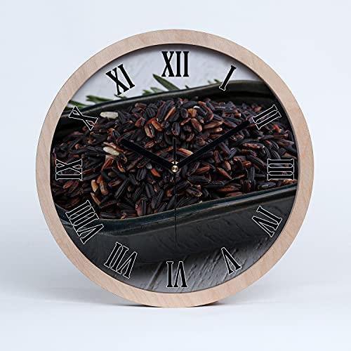 Tulup Reloj de Pared De Cuarzo Moderno  25cm Decoración Silencioso Relojes De Madera Manecillas Negro - Arroz Silvestre en un Cuenco