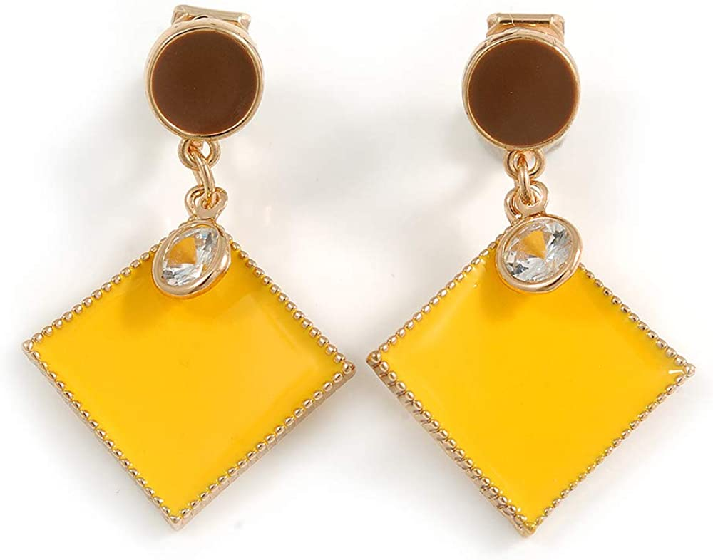 Avalaya Brown/Yellow Enamel Square Clip-On Earrings in Gold Tone - 40mm Long
