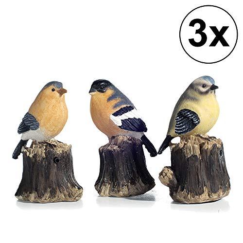 3er Set Bewegungsmelder Vogel 3fach Sortiert Garten Zwitschern Terrasse Deko Bewegungssensor