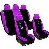 WOLTU AS7245 Set Completo di Coprisedili Auto Seat Cover Universali Protezione per Sedile di Poliestere con Ricamo Farfalle Viola