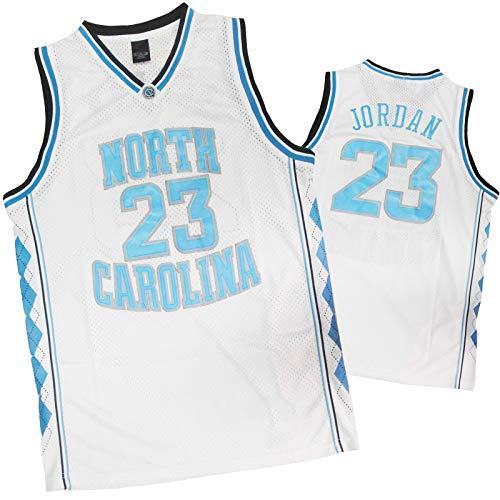LYDG 23# Jordones Jordán Basketball Jersey, Uniforme De Baloncesto para Hombres, Tela De Malla De Malla De Carolina del Norte, Chaleco Sin Mangas Resistente Al Desgaste Jordanl White-S