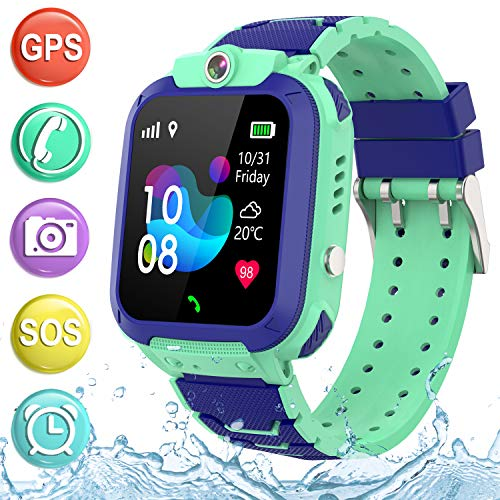 """Kids Smartwatch GPS Tracker Phone - 2019 New Waterproof Children Smart Watches with 1.4"""" Touch Screen SOS Phone Call Talkie Walkie Pedometer Fitness Sports Band for Boys Girls Age 4-12 (Blue)"""