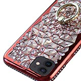 Stilluxy Compatible with iPhone 12 case and Compatible with 12 pro case Cover Skin Slim Thin 3D Sunflower Flower Ring Kickstand 2020 New 6.1 inch (red)