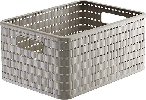 Rotho Country, Caja de almacenamiento 11l en rattan-look, Plástico PP sin BPA, capuchino, A5x, 11l 32.8 x 23.8 x 16.0 cm