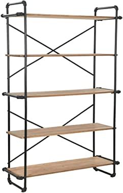 vidaXL 5 Tier Bookcase, Solid Wood 5-Shelf Industrial Style Bookcases and Book Shelves, Metal and Wood Free Vintage Bookshelf