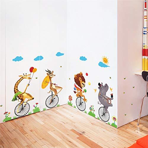 VCTQR Pegatina de Pared Divertidas Acrobacias de Circo Monociclo Tatuajes de Pared Dormitorio Sala de niños decoración del hogar Animal de Dibujos Animados Pegatinas de Pared PVC Arte Mural