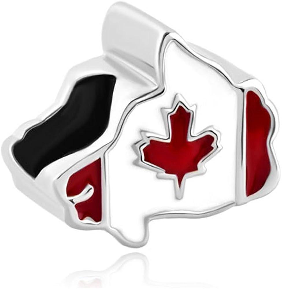 LilyJewelry Canada Flag Map Bead Charm for Bracelets