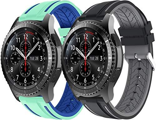 Gransho Repuesto de Correa de Reloj de Silicona 22mm, Caucho Fácil de Abrochar para Relojes y Smartwatch (22mm, 2PCS A)