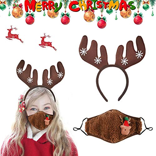 OTTOPT 2021 Christmas Antlers Headband Mask for Kids,Christmas Limited Edition Reindeer Antlers Headband with Mask Cute Reindeer Ears Headband for Christmas Party