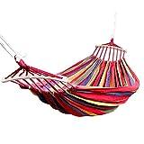 hengguang Amaca Doppia Multicolore Portatile da Viaggio Amaca da Appendere Altalena LazyHammocks - Carico Massimo 200 kg Rosso