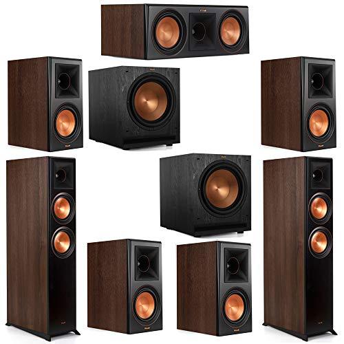 Fantastic Prices! Klipsch 7.2 Walnut System 2 RP-6000F Floorstanding Speakers, 1 Klipsch RP-600C Cen...