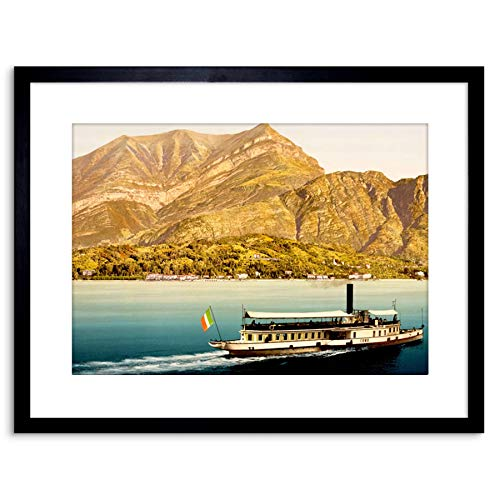 The Art Stop Photo Landscape Lake Como Mountain Boat Italy Flag Framed Print F97X7588