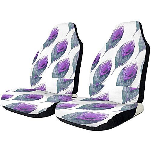 Fundas de asiento de coche púrpura plumas de pavo real elástico cubo cubierta de asiento universal accesorios de asiento de coche,