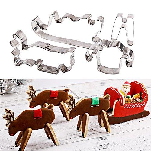 3D Weihnachten Keks Keks Edelstahl Ausstechform Weihnachten Elch und Schlitten Form Lebkuchen Plätzchen Schablone Kuchen Form Fondant Dekorieren Werkzeuge Backform