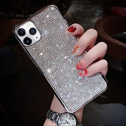 Fusicase for iPhone 11 Pro Max Diamond Case Cute Bling Glitter Rhinestone Crystal Shiny Sparkle Protective Cover with Electroplate Plating Bumper Luxury Fashion Case for iPhone 11 Pro Max Silver