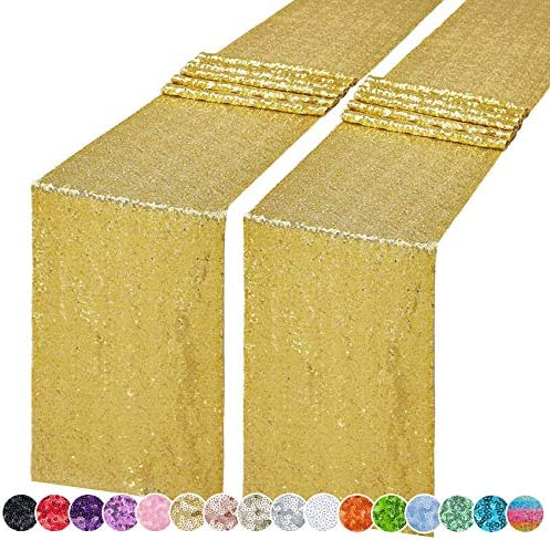 Hahuho 2PCS 12x72 Inch Sequin Table Runner Gold Glitter Table Runner for Party Wedding Bridal product image