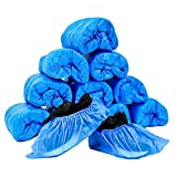 LANZI 100 Piezas Cubiertas de Zapatos Desechables Cubiertas de Botas Impermeables de Zapatos Antideslizantes con,Engrosada a Prueba de Polvo(Azul)