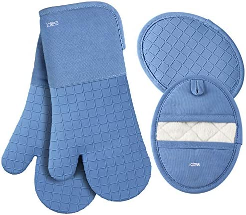 LDTEA Oven Mitts and Pot Holders Sets 600 F Heat Resistant Platinum Grade Silicone Oven Mitts product image