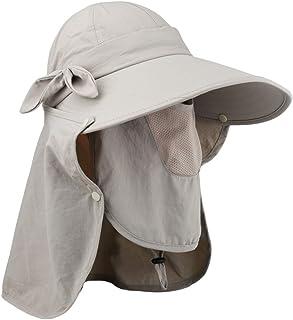 Lenikis Women's UPF+50 Sun Visor Detachable Flap Hat Foldable Wide Brimmed UV Protection Hat
