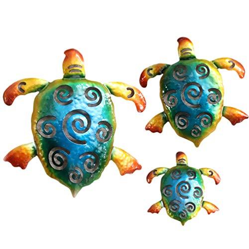 Upkoch - Juego de 3 figuras de tortugas de hierro, decoración para jardín, decoración de pared, decoración para el jardín