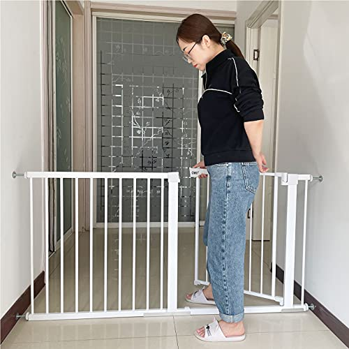 Barrera Seguridad Nios Escalera Retrctil valla de bebé Extraseguro Rejilla Metlica Safety Sin Agujeros Perros o gatos en escaleras en interiores y exteriores(117-124cm)